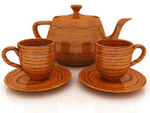 Wood teapot and cups Stock Image
