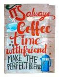 Wood tecken för tappning av coffee shop Arkivbild