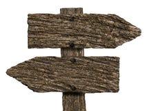 Wood tecken för tom dubbelriktning (på vit) arkivbilder