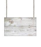 Wood tecken från en kedja på vit Royaltyfria Bilder