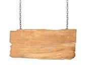 Wood tecken från en kedja som isoleras på vit Royaltyfri Foto