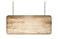 Wood tecken från en kedja som isoleras på vit Arkivbilder