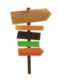 Wood tecken med isolerade riktningspilar Arkivbilder