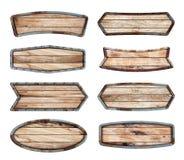 Wood tecken med metallramen Arkivfoto
