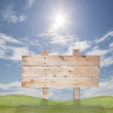 Wood tecken och gräs, blå himmel för sommarbakgrund, kopieringsutrymme Royaltyfri Fotografi