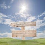 Wood tecken och gräs, blå himmel för sommarbakgrund, kopieringsutrymme Royaltyfri Bild
