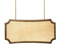 Wood tecken som hänger på rep som isoleras på vit Arkivbilder