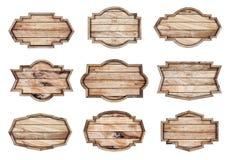 Wood tecken som isoleras på vit bakgrund Royaltyfri Foto