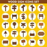 Wood teckensymbolsuppsättning på vit bakgrund Royaltyfri Bild
