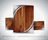 Wood Template Layout. Wooden and Metal Concept Vector Background Design Stock Photos