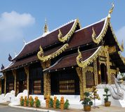 Wood Temple with gold trim. Royalty Free Stock Image