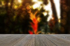 Wood terrace and Abstract blurred nature background Stock Photos