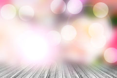 Wood terrace and Abstract blurred nature background Royalty Free Stock Image