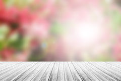 Wood terrace and Abstract blurred nature background Stock Photo