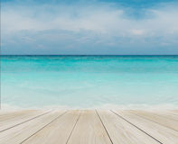 Wood Terrace on The Beach with Clear Sky, Blue Sea and Copyspace for Mock up to Display Product or input Text Stock Images