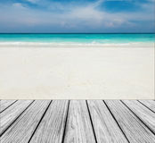 Wood Terrace on The Beach with Clear Sky,Blue Sea and White Sand to input Text Royalty Free Stock Photography