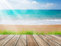Wood terrace on the beach with green grass and sun light Stock Image