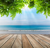Wood terrace on the beach Stock Photos
