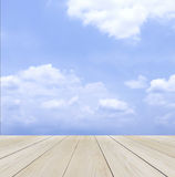 Wood Terrace with Blue Sky and Cloud used as Template for Mock up to Display Product or input Text Stock Photography