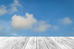 Wood terrace and Blue sky Royalty Free Stock Images