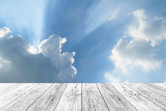Wood terrace and Blue sky Royalty Free Stock Image