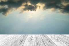 Wood terrace and Blue sky Royalty Free Stock Photography