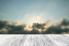 Wood terrace and Blue sky Stock Photos