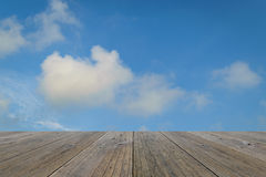 Wood terrace and Blue sky Royalty Free Stock Photo