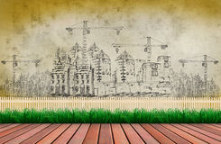 Wood terrace and building construction Royalty Free Stock Photos