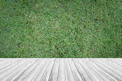 Wood terrace and Grass texture. Background surface natural color Stock Photo