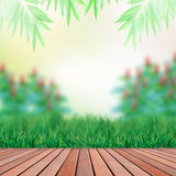 Wood terrace and green garden backgroundwood terra. File of wood terrace and green garden background Stock Image