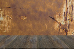 Wood terrace and Metal rust wall texture Royalty Free Stock Images