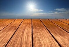 Wood terrace perspective to sky Royalty Free Stock Photography