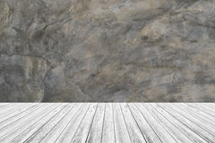 Wood terrace and Polished bare concrete wall texture Stock Photo