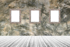 Wood terrace and Polished bare concrete with wood photo picture frame Stock Photography