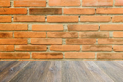 Wood terrace and Red Brick wall texture Royalty Free Stock Photography