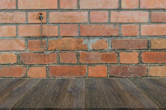 Wood terrace and Red Brick wall texture Stock Images