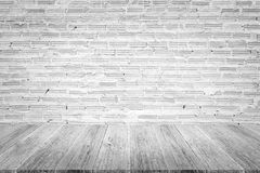 Wood terrace and Red Brick wall texture Royalty Free Stock Photos