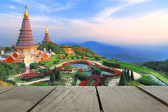 Wood terrace and Sunset at Doi Inthanon view point use as natura. L background,backdrop Royalty Free Stock Photo