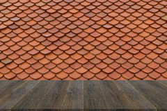 Wood terrace and Tile roof texture Stock Photo