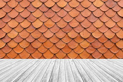 Wood terrace and Tile roof texture Stock Image