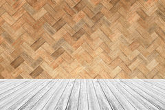 Wood terrace and Weave bamboo wall texture Stock Images