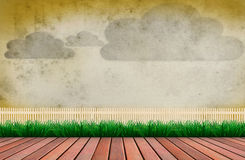 Wood terrace and wooden fence cloud on wall Stock Photos