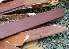 Wood textur för skeppsbruten hasselträ med havsstenbakgrund Arkivbild