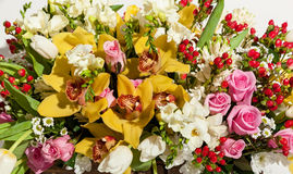beautiful background of flowers bouquets,Flower bouquet composition for the holiday, festive bouquet of flowers for a wedding, hya Stock Photo