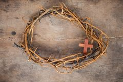 Wood texture background with crown thorns royalty free stock photography