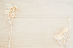 Wood texture background with dried flower decoration Stock Photo