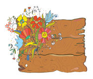 Wood texture background with flowers Stock Images