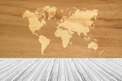 Wood texture background, with white wood terrace and world map Royalty Free Stock Images