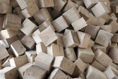 Wood texture. Bunch of cut wooden blocks with selective focus royalty free stock photo